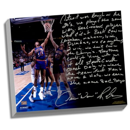 """Steiner Sports Detroit Pistons Dennis Rodman The Bad Boys Facsimile 22"""" x 26"""" Stretched Story Canvas"""
