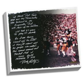 """Steiner Sports Notre Dame Fighting Irish Rudy Ruettiger Never Give Up Facsimile 22"""" x 26"""" Stretched Story Canvas"""