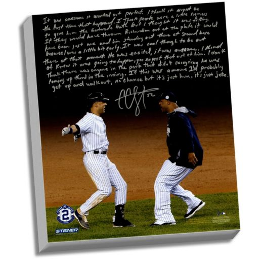 """Steiner Sports New York Yankees CC Sabathia Jeter's Yankee Farewell Facsimile 22"""" x 26"""" Stretched Story Canvas"""