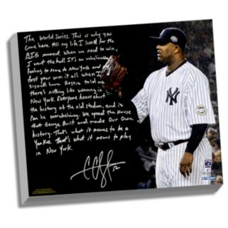 "Steiner Sports New York Yankees CC Sabathia Winning in New York Facsimile 22"" x 26"" Stretched Story Canvas"