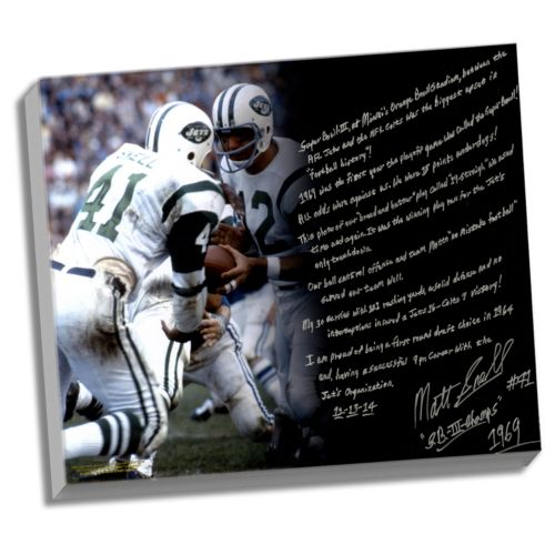 Steiner Sports New York Jets Matt Snell Super Bowl III Facsimile 22 x 26 Stretched Story Canvas