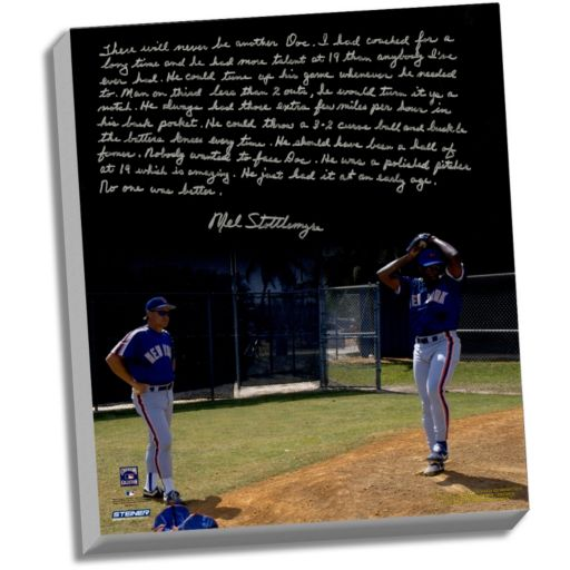 """Steiner Sports New York Mets Mel Stottlemyre Coaching Doc Facsimile 22"""" x 26"""" Stretched Story Canvas"""