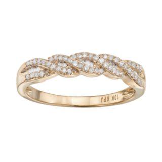 1/5 Carat T.W. Diamond 10k Gold Twist Ring