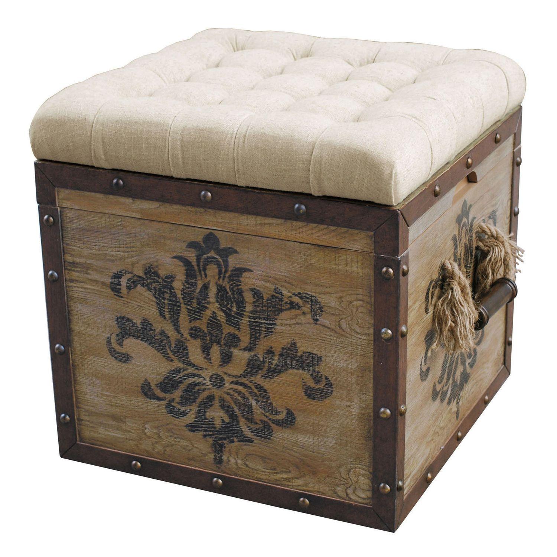 Antique Damask Storage Ottoman