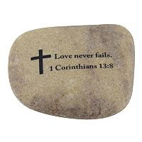 ''Love Never Fails'' Scripture Decorative Rock