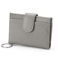 Buxton Hudson Pik-Me-Up Leather Tab Card Case
