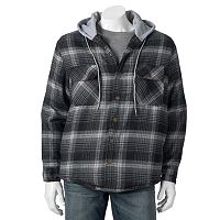 Victory Rugged Wear Plaid Flannel Hooded Shirt Jacket - Men