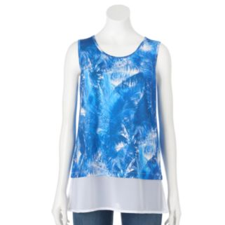 Design 365 Print Chiffon-Hem Top - Women's