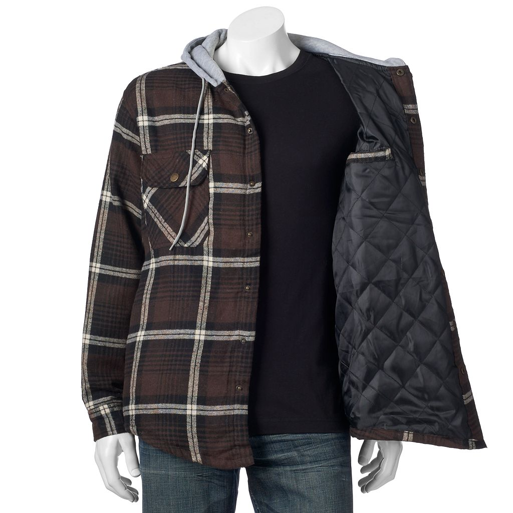 Big & Tall Victory Rugged Wear Plaid Flannel Hooded Shirt Jacket