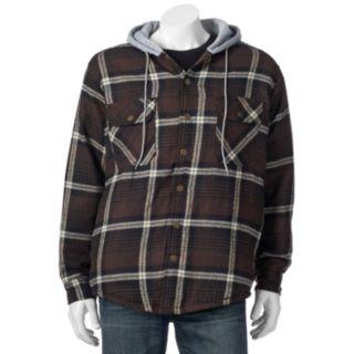 Big & Tall Victory Rugged Wear Plaid Flannel Hooded Shirt Jacket