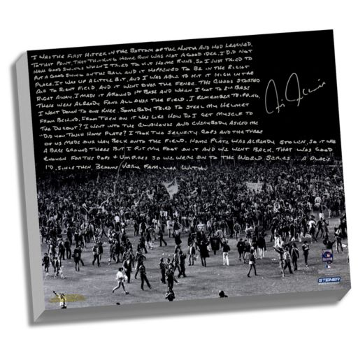 """Steiner Sports New York Yankees Chris Chambliss 1976 ALCS Walk-Off Home Run Facsimile 22"""" x 26"""" Framed Stretched Story Canvas"""