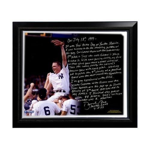 Steiner Sports New York Yankees David Cone Yogi Berra Day Perfect Game Facsimile 22 x 26 Framed St...