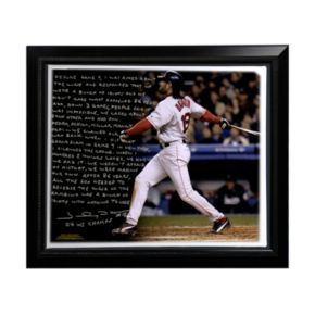 """Steiner Sports Boston Red Sox Johnny Damon Reverse the Curse Facsimile 22"""" x 26"""" Framed Stretched Story Canvas"""