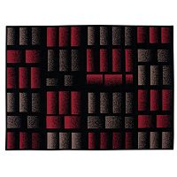 Nourison Modesto Abstract Red Gray Rug