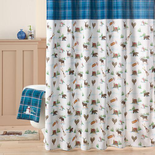 St Nicholas Square Snowman Toile Fabric Shower Curtain