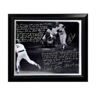 """Steiner Sports Boston Red Sox Bucky Dent and Mike Torrez 1978 Walk-Off Home Run Facsimile 22"""" x 26"""" Framed Stretched Story Canvas"""