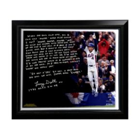 "Steiner Sports New York Mets Lenny Dykstra 1986 NLCS Walk-Off Home Run Facsimile 22"" x 26"" Framed Stretched Story Canvas"