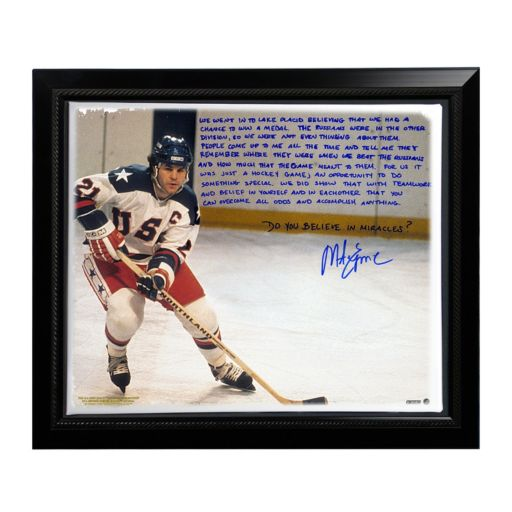 """Steiner Sports USA Hockey Mike Eruzione Miracle Facsimile 22"""" x 26"""" Framed Stretched Story Canvas"""