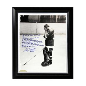 """Steiner Sports Detroit Red Wings Eddie Giacomin Returning to MSG Facsimile 22"""" x 26"""" Framed Stretched Story Canvas"""