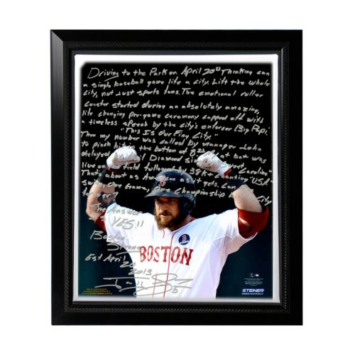Steiner Sports Boston Red Sox Jonny Gomes Boston Strong Facsimile 22 x 26 Framed Stretched Story C...