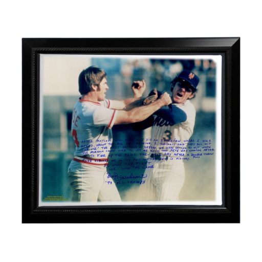 "Steiner Sports New York Mets Bud Harrelson Fighting Rose Facsimile 22"" x 26"" Framed Stretched Story Canvas"