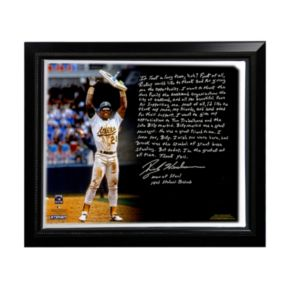 "Steiner Sports Oakland Athletics Rickey Henderson Stolen Base Record Facsimile 22"" x 26"" Framed Stretched Story Canvas"