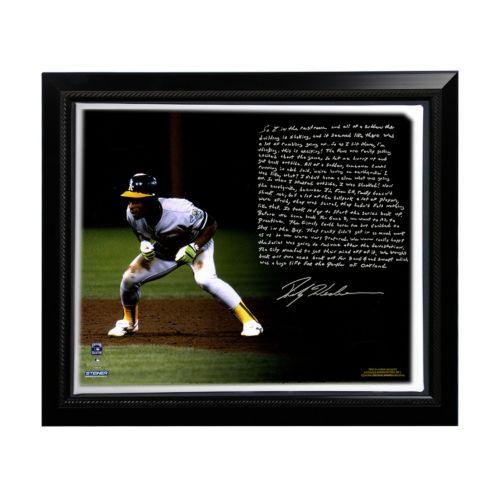 Steiner Sports Oakland Athletics Rickey Henderson World Series Earthquake Facsimile 22 x 26 Framed...