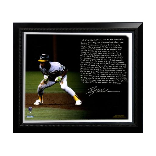 """Steiner Sports Oakland Athletics Rickey Henderson World Series Earthquake Facsimile 22"""" x 26"""" Framed Stretched Story Canvas"""