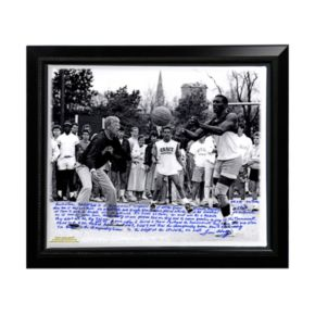 """Steiner Sports Notre Dame Fighting Irish Lou Holtz Basketball vs. Tim Brown Facsimile 22"""" x 26"""" Framed Stretched Story Canvas"""