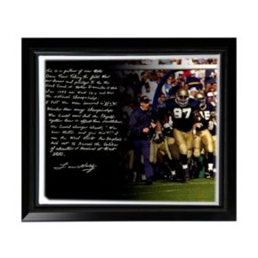 """Steiner Sports Notre Dame Fighting Irish Lou Holtz College Football Playoffs Facsimile 22"""" x 26"""" Framed Stretched Story Canvas"""