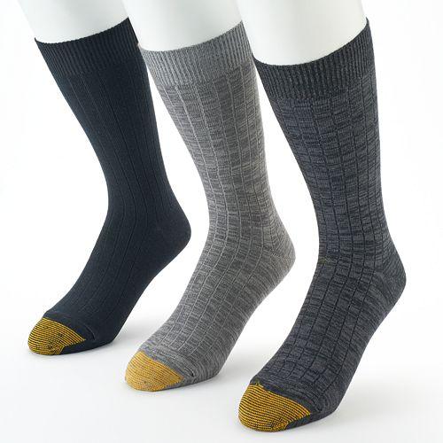 Men's GOLDTOE 3-pack Johnny Rib Casual Crew Socks