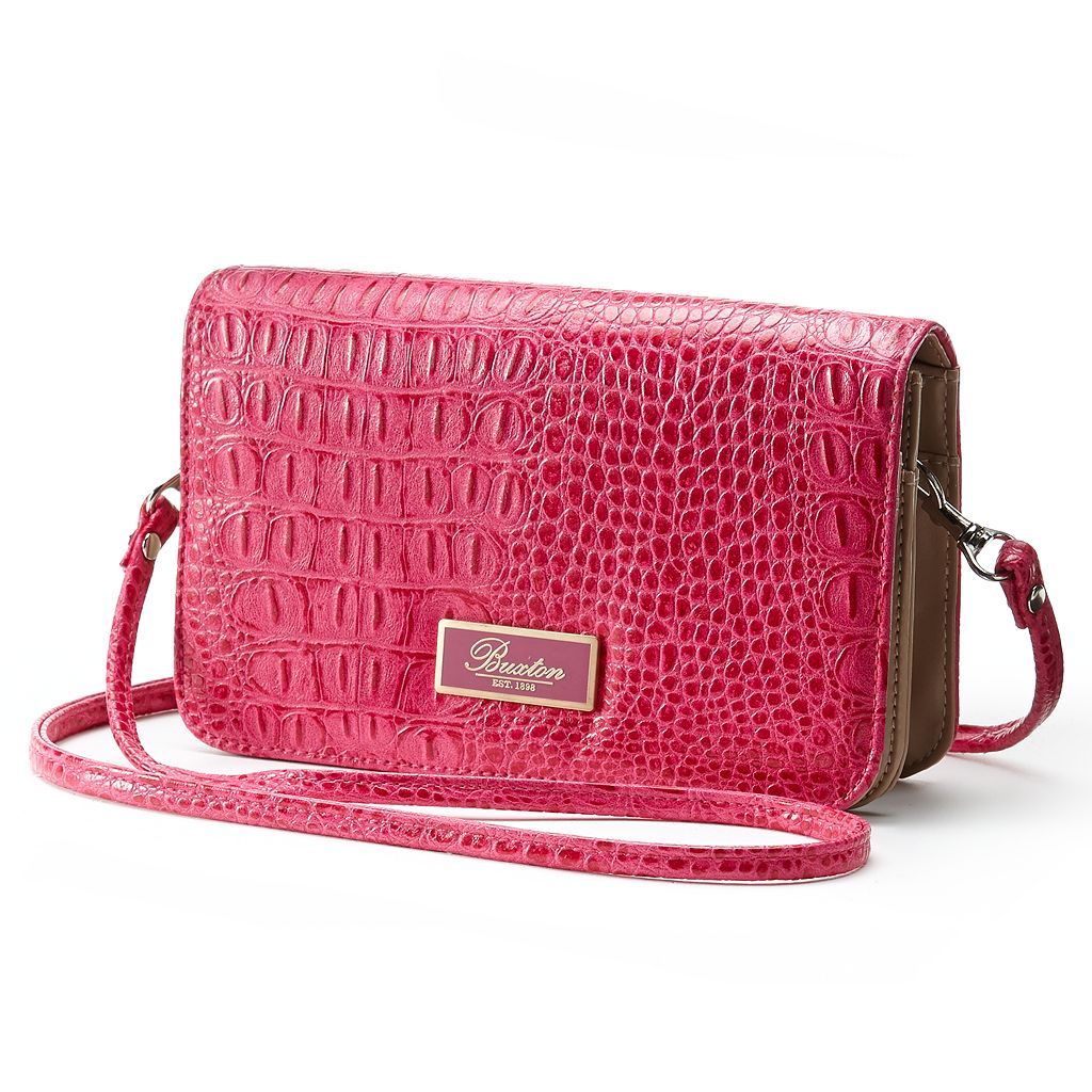 Buxton Crocodile Convertible Flap Clutch
