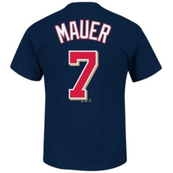 Men's Majestic Minnesota Twins Joe Mauer Player Name and Number Tee