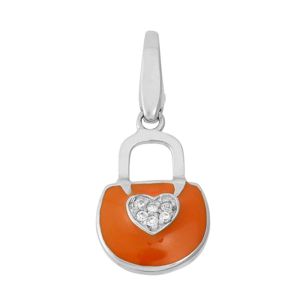 Giorgio Martello Cubic Zirconia Sterling Silver Heart Purse Charm