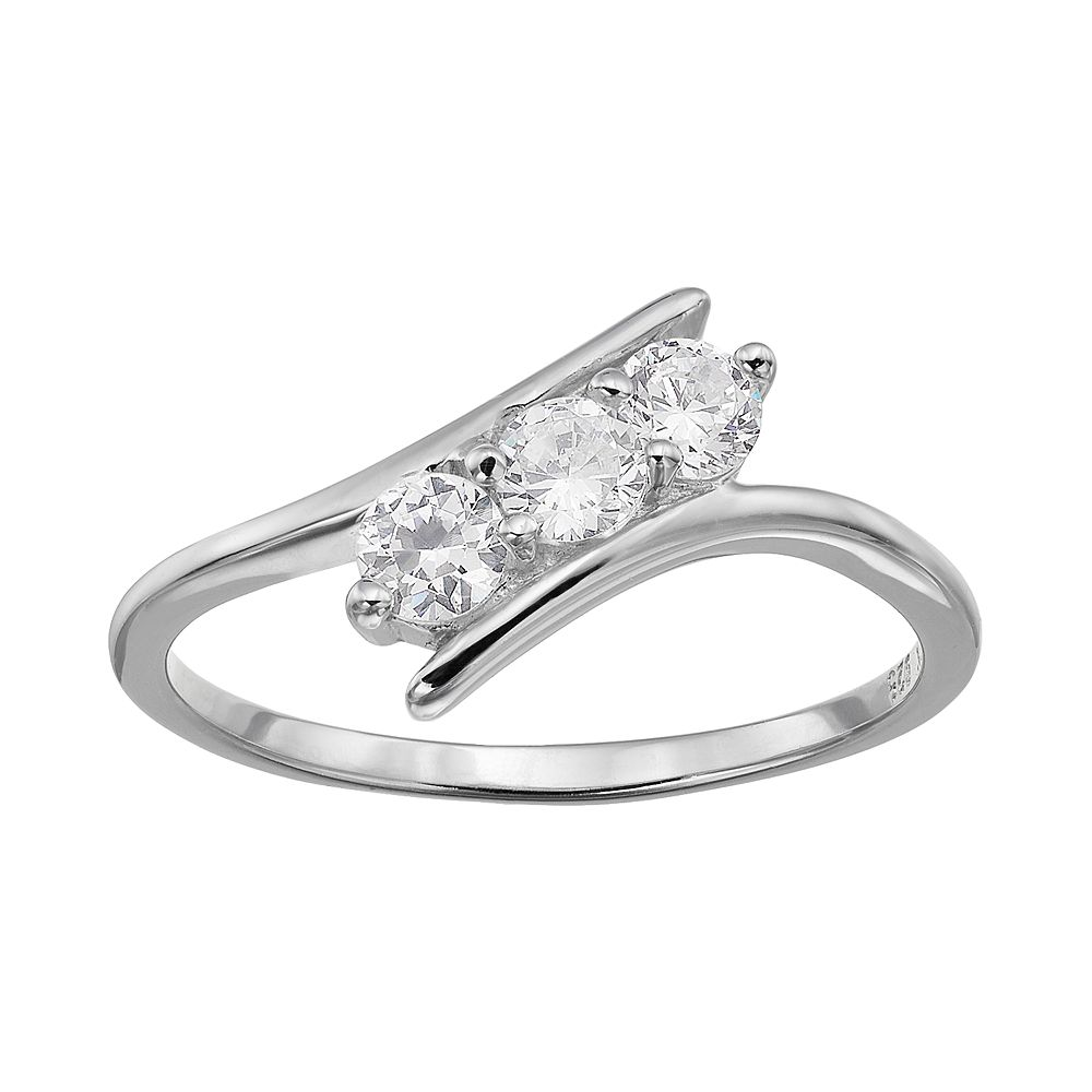 e416c7839 Cubic Zirconia Sterling Silver 3-Stone Bypass Ring
