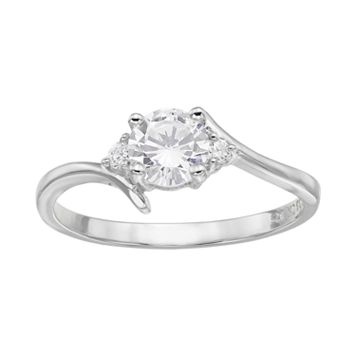 Cubic Zirconia Sterling Silver 3-Stone Bypass Ring
