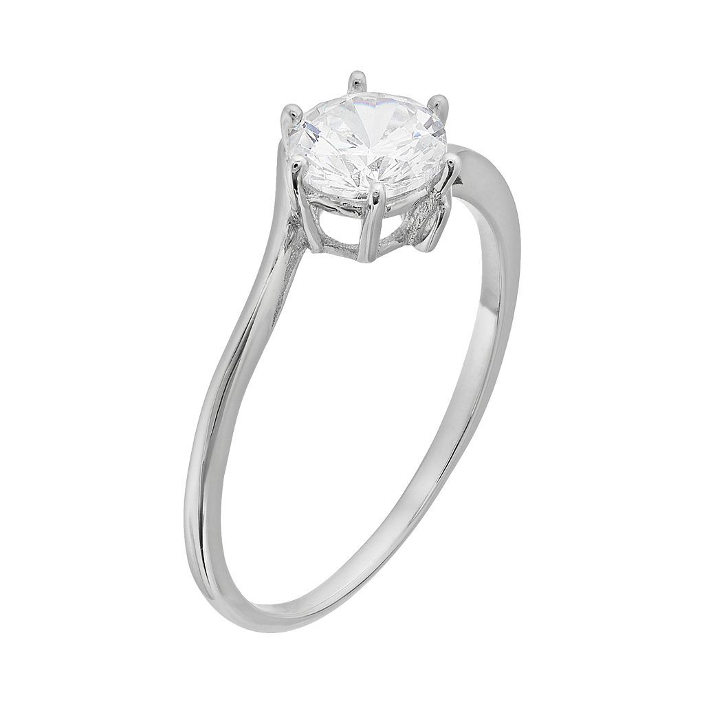 Cubic Zirconia Sterling Silver Solitaire Bypass Ring