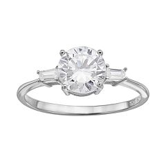 Cubic Zirconia Sterling Silver 3-Stone Ring