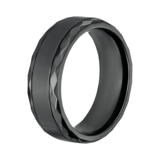 LYNX Men's Black Zirconium Geometric Band