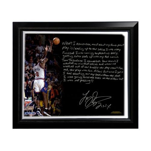 Steiner Sports New York Knicks Larry Johnson 4-Point Play Facsimile 22 x 26 Framed Stretched Story...