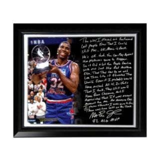 """Steiner Sports Los Angeles Lakers Magic Johnson First Game Back Facsimile 22"""" x 26"""" Framed Stretched Story Canvas"""