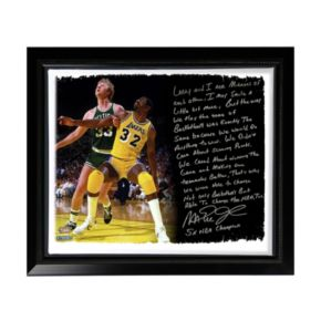 """Steiner Sports Los Angeles Lakers Magic Johnson My Friend Larry Bird Facsimile 22"""" x 26"""" Framed Stretched Story Canvas"""