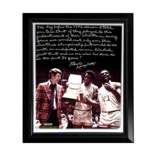 Steiner Sports Indiana Hoosiers Bob Knight Undefeated Season Facsimile 22 x 26 Framed Stretched St...