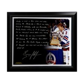 "Steiner Sports New York Rangers Brian Leetch 1st American Conn Smythe Winner Facsimile 22"" x 26"" Framed Stretched Story Canvas"