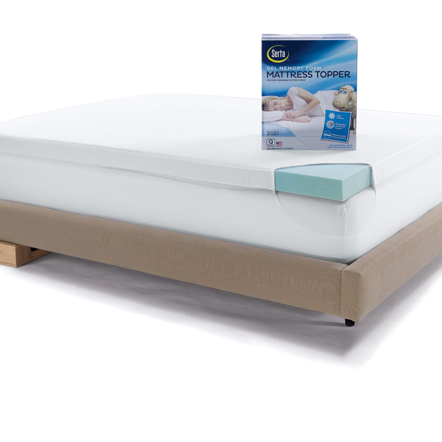 serta 3inch deeppocket gel memory foam mattress topper