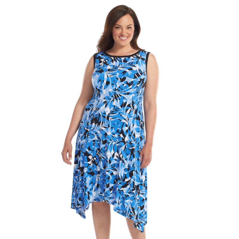Suite 7 Floral Shift Dress - Women's Plus Size, Size: 14 W (Blue)