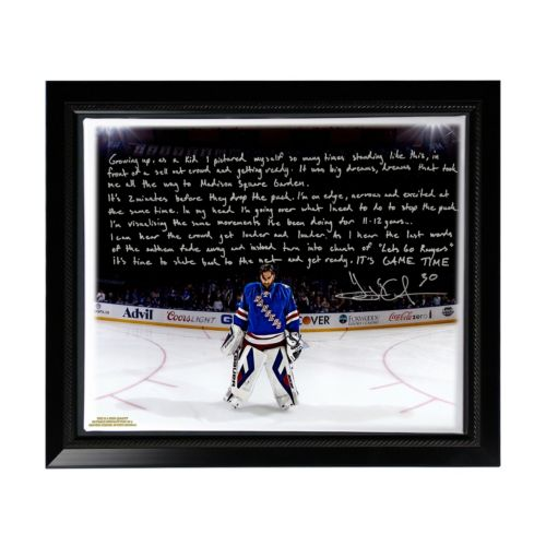 Steiner Sports New York Rangers Henrik Lundqvist Playing in the Garden Facsimile 22″ x 26″ Framed Stretched Story Canvas