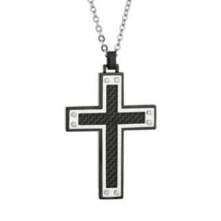 LYNX Stainless Steel Two Tone Carbon Fiber Cross Pendant Necklace - Men