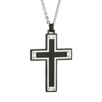 LYNX Stainless Steel Two Tone Carbon Fiber Cross Pendant Necklace - Men