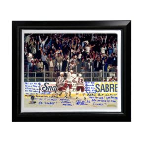 """Steiner Sports New York Rangers Stephane Matteau 1994 Game 7 Game-Winning Goal Commentary Facsimile 22"""" x 26"""" Framed Stretched Story Canvas"""